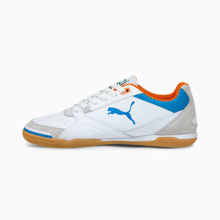 Ibero Futsal Boots, Puma White-Blue-Orange-Gum, small