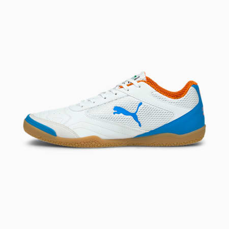 Pressing Futsal Boots, White-Blue-Orange-Gum, small