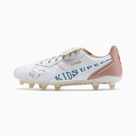 PUMA x KIDSUPER King Super FG Men's Football Boots, Puma White-Yellow-Rose-Blue, small