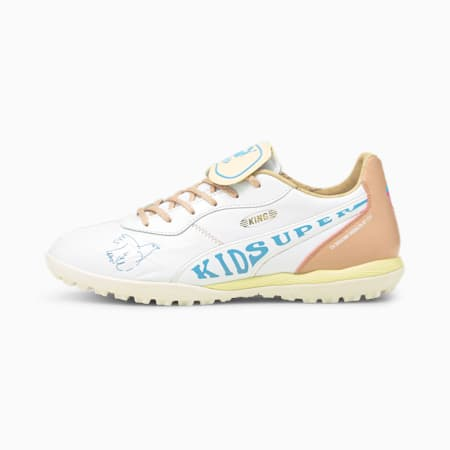PUMA x KIDSUPER STUDIOS King TT Men's Soccer Shoes, White-Yellow-Misty Rose-Blue, small