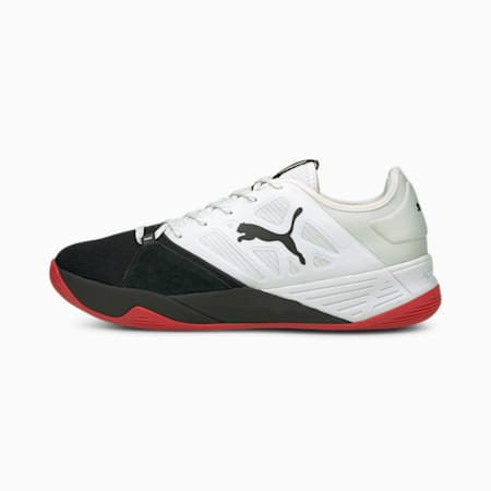 Accelerate Turbo Nitro Handball Shoes, PUMA White - Black - Red, small