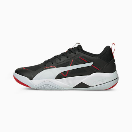 Eliminate Pro Indoor Sports Shoes, PUMA Black - White - Red, small-GBR