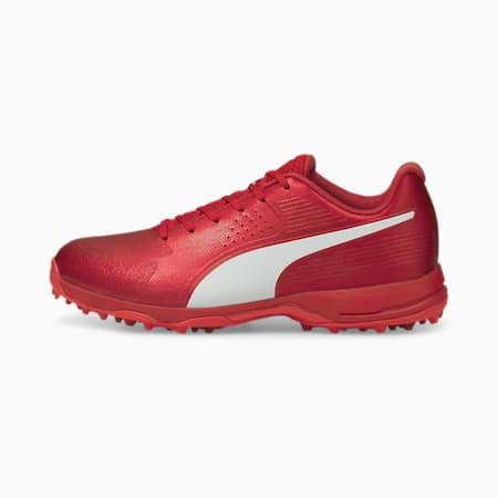 PUMA 20 Men's Rubber Cricket Shoes, Urban Red-Puma White-Sunblaze, small-IND