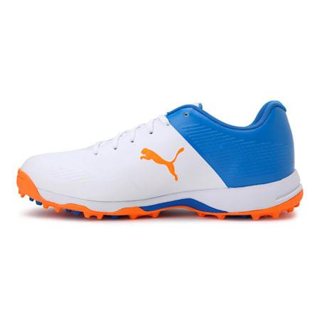 PUMA 20 Men's Rubber Cricket Shoes, Puma White-Bluemazing-Orange Glow, small-IND