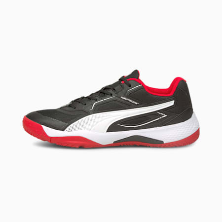 Solarstrike Indoor Sports Shoes, Puma Black-High Risk Red-Wht, small-GBR