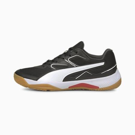Solarflash indoor sportschoenen jongeren, Puma Black-Puma White-High Risk Red-Gum, small