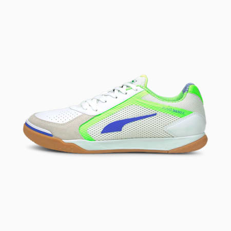 IBERO II Futsal Shoes, Puma White-Bluemazing-Green Glare-Gum, small