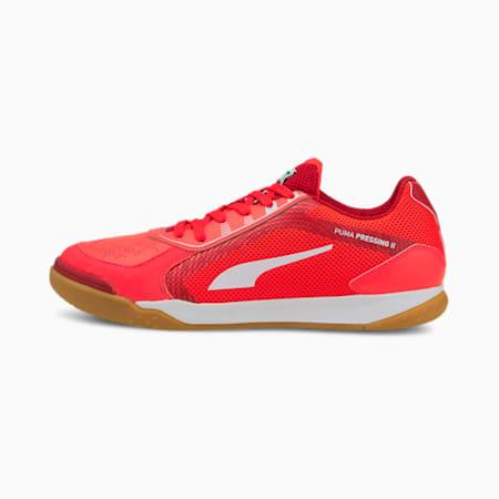 Pressing II Unisex Football Shoes, Sunblaze-Puma White-Urban Red-Gum, small-IND
