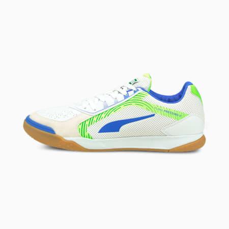PRESSING II Futsal Schuhe, Puma White-Bluemazing-Green Glare-Gum, small