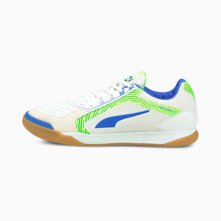 PRESSING II Futsal Shoes, Puma White-Bluemazing-Green Glare-Gum, small
