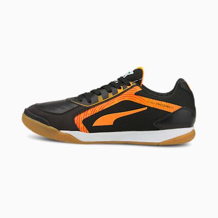 PRESSING II Futsal Shoes, Puma Black-Orange Glow-Gum, small-GBR