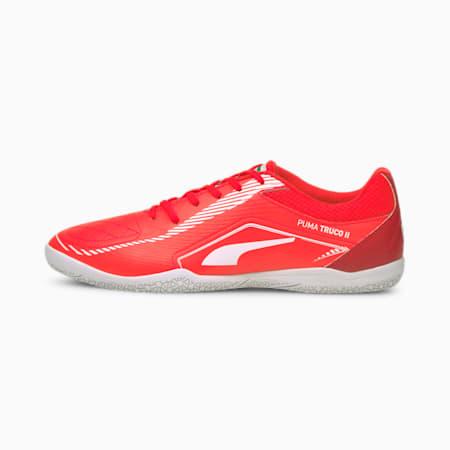 TRUCO II Unisex Football Shoes, Sunblaze-Puma White-Urban Red, small-IND