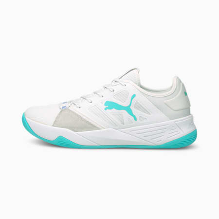 Accelerate Turbo Nitro W+ Women's Handball Shoes, Puma White-Elektro Aqua-Elektro Purple, small