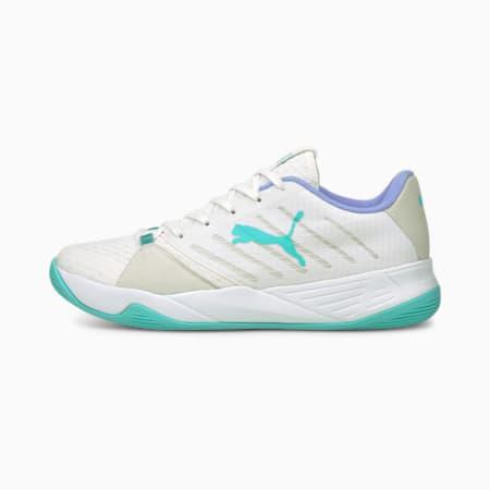 Scarpe da pallamano Accelerate Pro W+ donna, Puma White-Elektro Aqua-Elektro Purple, small