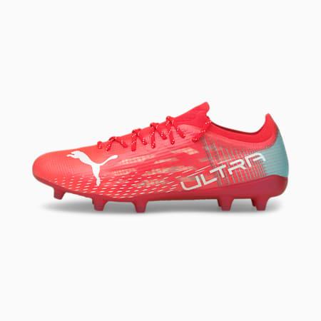 Botines de fútbol ULTRA 1.3 FG/AG para mujer, Sunblaze-White-Elektro Aqua, pequeño
