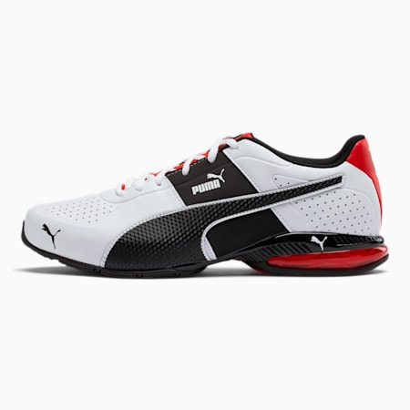 CELL Surin 2 FM Men's Running Shoes, White-Black-flame scarlet, small