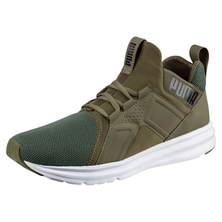 Enzo Mesh Men's Running Shoes, Olive Night-Puma White, small-IND