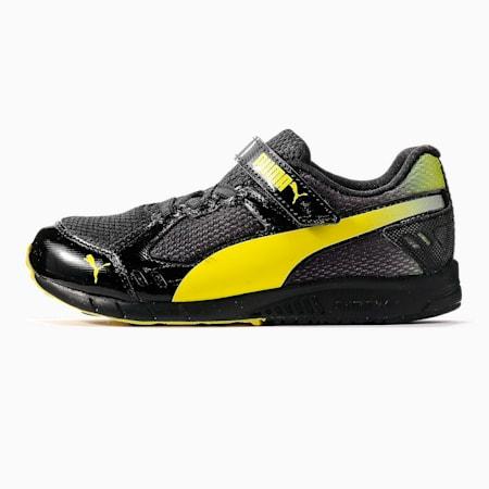 キッズ プーマ スピードモンスター V3 スニーカー 17-24cm, Puma Black-Fluo Yellow, small-JPN