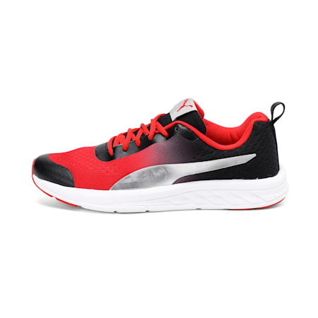 Radiance IDP Running Shoes, Black-High Risk Red-Silver, small-IND