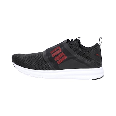 Enzo Strap Mesh Men's Running Shoes, Puma Black-Flame Scarlet, small-IND