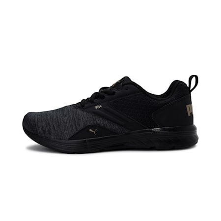NRGY Comet Unisex Running Shoes, Puma Black-Gold, small-IND