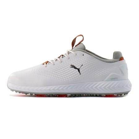 IGNITE PWRADAPT Leather Men's Golf Shoes, Puma White-Puma White, small-SEA