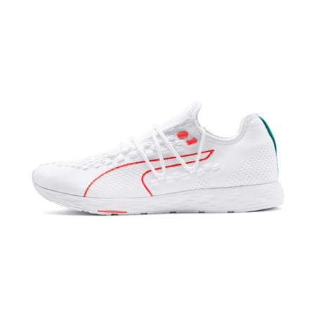 SPEED 300 RACER Men's Running Shoes, White-Nrgy Red-Turquoise, small