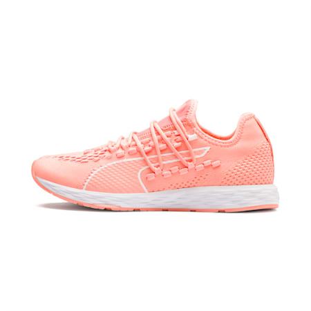 SPEED RACER Women's Running Shoes, Bright Peach-Peach Bud-White, small-IND