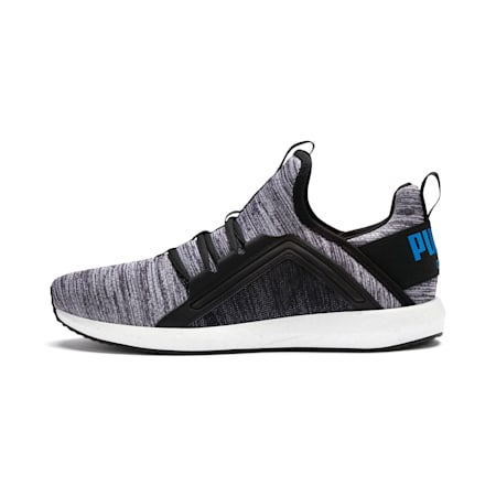 Mega Energy Heather Knit Men's Running Shoes, Black-White-Indigo Bunting, small-IND