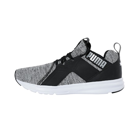 Enzo Knit Men's Shoes, Black-White-Silver, small-IND