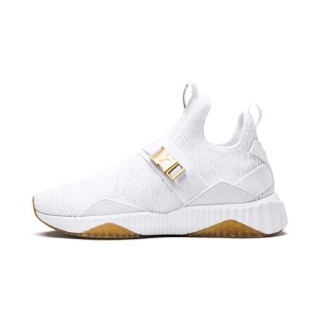 Zapatos deportivos Defy Varsity Mid para mujer, Puma White-Metallic Gold, pequeño