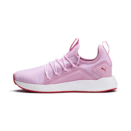 NRGY Neko Knitted Youth Trainers, Pale Pink-White-Hibiscus, small