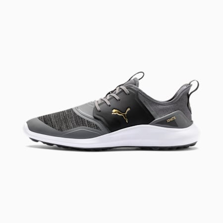 IGNITE NXT Lace Men's Golf Shoes, QUIET SHADE-Gold-Black, small