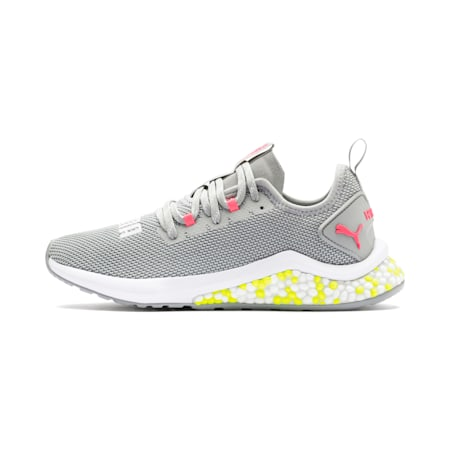 HYBRID NX Women's Running Shoes, Quarry-PinkAlert-YellowAlert, small-IND