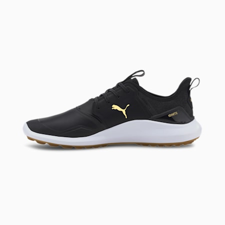 IGNITE NXT Crafted Men's Golf Shoes, Black-Black-Gold, small-SEA