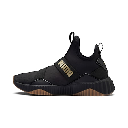 Defy Mid Sparkle Women's Training Shoes, Puma Black-Metallic Gold, small