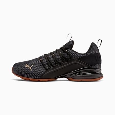 Zapatos de entrenamiento de malla Axelion para hombre, Puma Black-Metallic Gold, pequeño