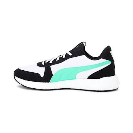 NRGY Neko Retro Men's Running Shoes, Black-White-Green Glimmer, small-IND