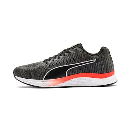 Zapatos para correr SPEED Sutamina para hombre , Negro-CASTLEROCK-Amarillo-Rojo, pequeño