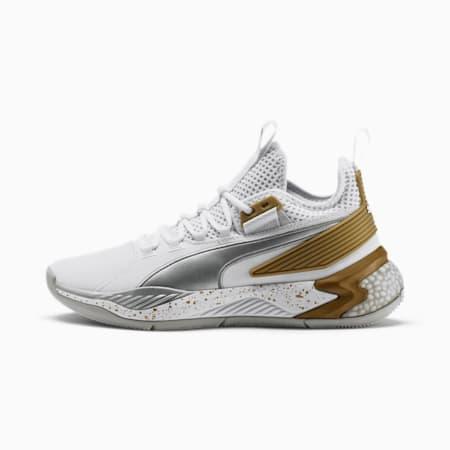 Uproar Core Men's Basketball Shoes, Puma White-Metallic Silver, small