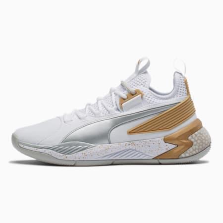 Uproar Core Basketball Shoes, Puma White-Metallic Silver, small