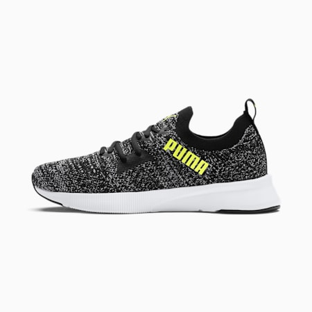 Flyer Runner Engineered Knit Men's Running Shoes, Puma Black-Puma White-Fizzy Yellow, small