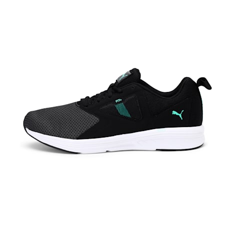 NRGY Asteroid Running Shoes, Puma Black-Green Glimmer, small-IND