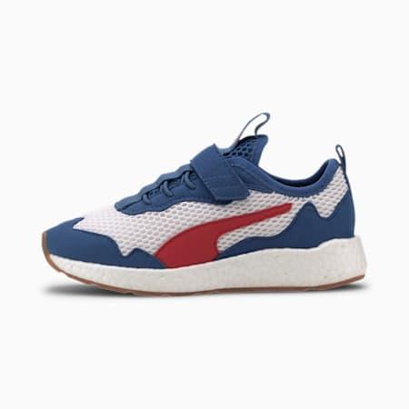 NRGY Neko Skim AC Kids Sneaker, Puma White-Red-Bright Cobalt, small