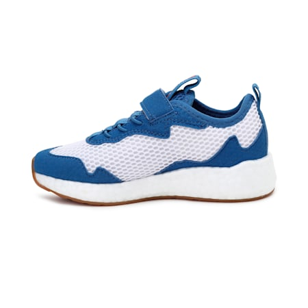 NRGY Neko Skim AC Kids' Sneakers, Puma White-Red-Bright Cobalt, small-IND