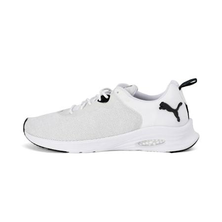 Zapatos para correr HYBRID Fuego Knit para hombre, Puma White-Glcr Gray-Pma Blk, pequeño