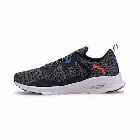HYBRID Fuego evoKNIT Men's Running Shoes, Black-Lava Blast-Palace Blue, small-IND