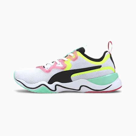 Zone XT Women's Training Shoes, Puma White-Puma Black-Yellow, small