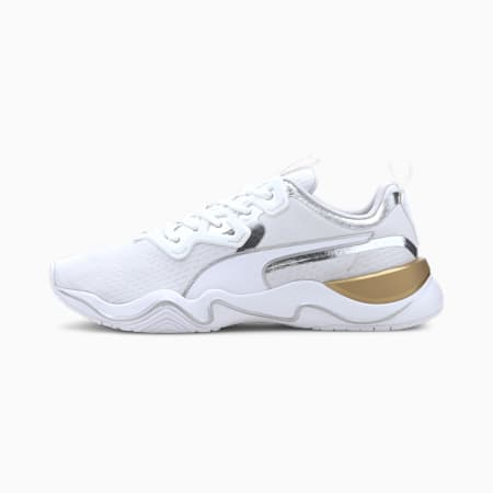 Zone XT Metal Women's Training Shoes, Puma White-Metallic Gold, small