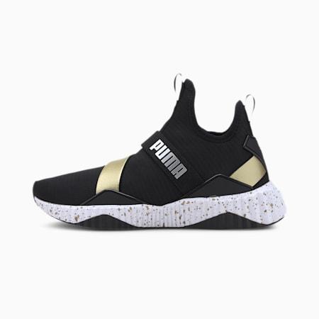 Zapatos de entrenamiento Defy Mid Metal para mujer, Puma Black-Puma White, pequeño